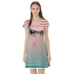 Heat Wave Chevron Waves Red Green Short Sleeve Skater Dress