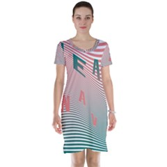 Heat Wave Chevron Waves Red Green Short Sleeve Nightdress