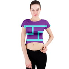 Illustrated Position Purple Blue Star Zodiac Crew Neck Crop Top
