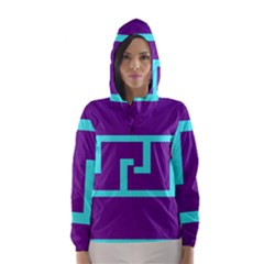 Illustrated Position Purple Blue Star Zodiac Hooded Wind Breaker (Women)