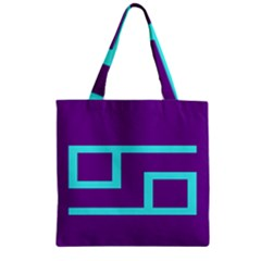 Illustrated Position Purple Blue Star Zodiac Zipper Grocery Tote Bag