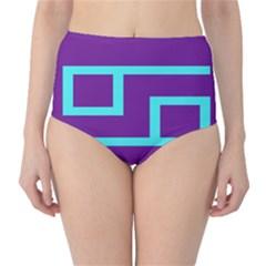 Illustrated Position Purple Blue Star Zodiac High-Waist Bikini Bottoms