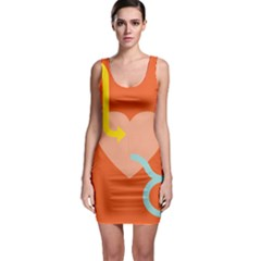 Illustrated Zodiac Love Heart Orange Yellow Blue Sleeveless Bodycon Dress