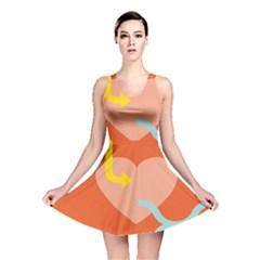 Illustrated Zodiac Love Heart Orange Yellow Blue Reversible Skater Dress