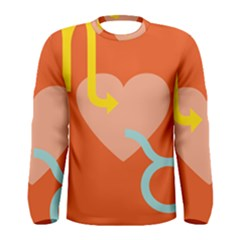 Illustrated Zodiac Love Heart Orange Yellow Blue Men s Long Sleeve Tee