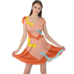 Illustrated Zodiac Love Heart Orange Yellow Blue Cap Sleeve Dresses