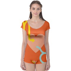 Illustrated Zodiac Love Heart Orange Yellow Blue Boyleg Leotard