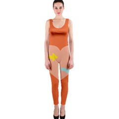 Illustrated Zodiac Love Heart Orange Yellow Blue OnePiece Catsuit