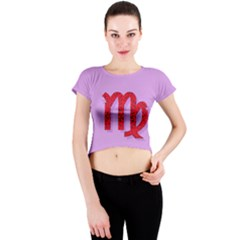 Illustrated Zodiac Purple Red Star Polka Crew Neck Crop Top