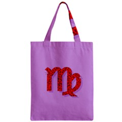 Illustrated Zodiac Purple Red Star Polka Zipper Classic Tote Bag