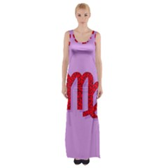 Illustrated Zodiac Purple Red Star Polka Maxi Thigh Split Dress