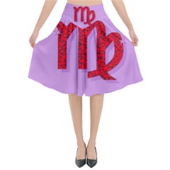 Illustrated Zodiac Purple Red Star Polka Flared Midi Skirt