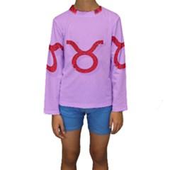 Illustrated Zodiac Purple Red Star Polka Circle Kids  Long Sleeve Swimwear