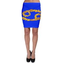 Illustrated 69 Blue Yellow Star Zodiac Bodycon Skirt