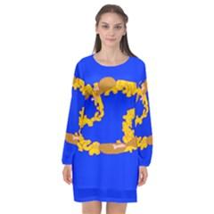 Illustrated 69 Blue Yellow Star Zodiac Long Sleeve Chiffon Shift Dress
