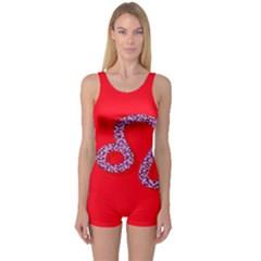 Illustrated Zodiac Red Purple Star Polka Dot One Piece Boyleg Swimsuit