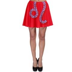Illustrated Zodiac Red Purple Star Polka Dot Skater Skirt