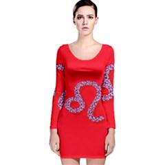 Illustrated Zodiac Red Purple Star Polka Dot Long Sleeve Velvet Bodycon Dress