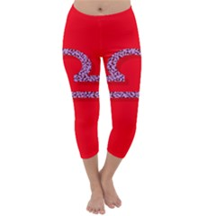 Illustrated Zodiac Red Purple Star Polka Capri Winter Leggings