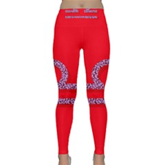 Illustrated Zodiac Red Purple Star Polka Classic Yoga Leggings