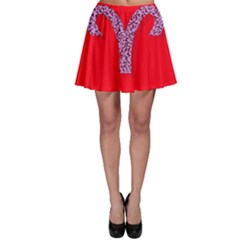 Illustrated Zodiac Red Star Purple Skater Skirt