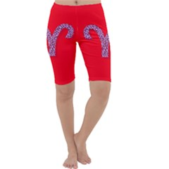 Illustrated Zodiac Red Star Purple Cropped Leggings