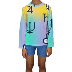 Illustrated Zodiac Star Kids  Long Sleeve Swimwear