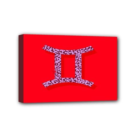 Illustrated Zodiac Red Purple Star Polka Dot Grey Mini Canvas 6  x 4