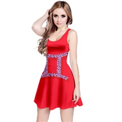 Illustrated Zodiac Red Purple Star Polka Dot Grey Reversible Sleeveless Dress