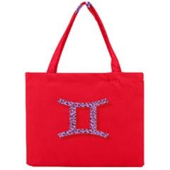 Illustrated Zodiac Red Purple Star Polka Dot Grey Mini Tote Bag
