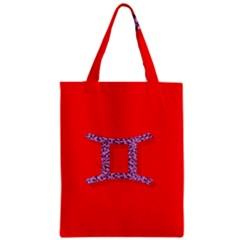 Illustrated Zodiac Red Purple Star Polka Dot Grey Zipper Classic Tote Bag