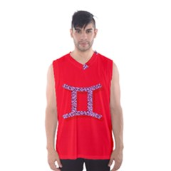 Illustrated Zodiac Red Purple Star Polka Dot Grey Men s Basketball Tank Top