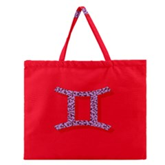 Illustrated Zodiac Red Purple Star Polka Dot Grey Zipper Large Tote Bag