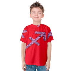 Illustrated Zodiac Star Red Purple Kids  Cotton Tee
