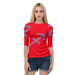 Illustrated Zodiac Star Red Purple Quarter Sleeve Tee