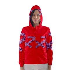 Illustrated Zodiac Star Red Purple Hooded Wind Breaker (Women)