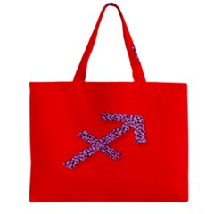 Illustrated Zodiac Star Red Purple Zipper Mini Tote Bag