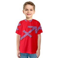 Illustrated Zodiac Star Red Purple Kids  Sport Mesh Tee