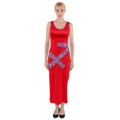 Illustrated Zodiac Star Red Purple Fitted Maxi Dress