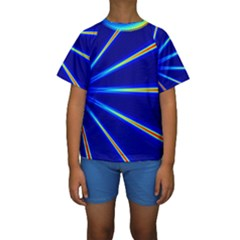 Light Neon Blue Kids  Short Sleeve Swimwear