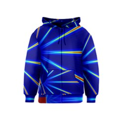 Light Neon Blue Kids  Zipper Hoodie