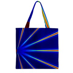 Light Neon Blue Zipper Grocery Tote Bag