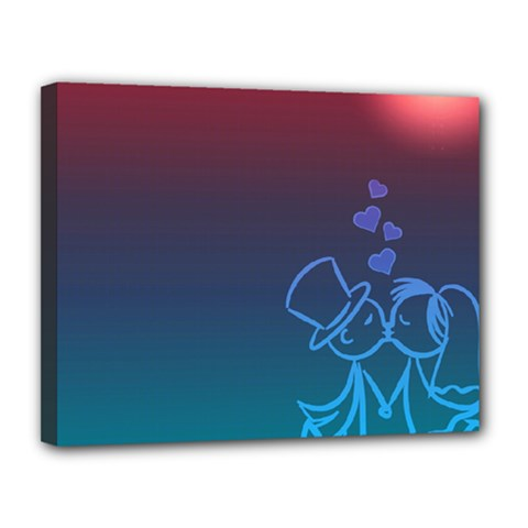 Love Valentine Kiss Purple Red Blue Romantic Canvas 14  x 11