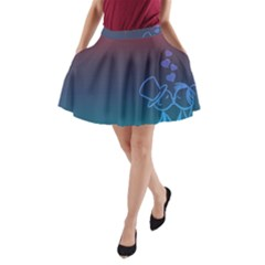 Love Valentine Kiss Purple Red Blue Romantic A Line Pocket Skirt