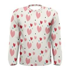 Love Heart Pink Polka Valentine Red Black Green White Men s Long Sleeve Tee