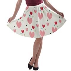 Love Heart Pink Polka Valentine Red Black Green White A-line Skater Skirt