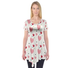Love Heart Pink Polka Valentine Red Black Green White Short Sleeve Tunic