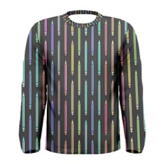 Pencil Stationery Rainbow Vertical Color Men s Long Sleeve Tee