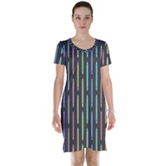 Pencil Stationery Rainbow Vertical Color Short Sleeve Nightdress