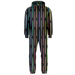 Pencil Stationery Rainbow Vertical Color Hooded Jumpsuit (Men)